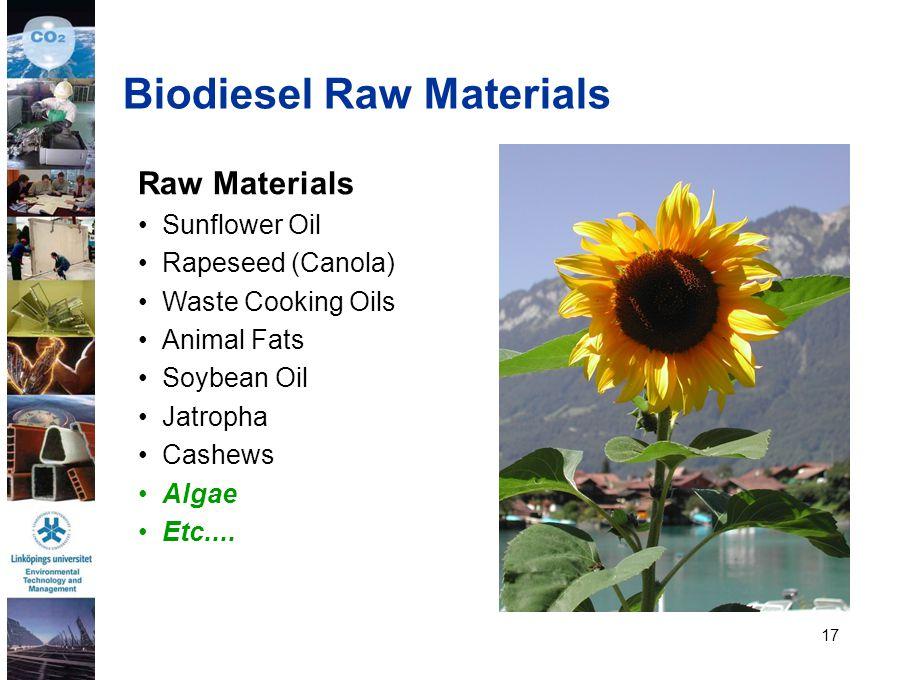 17 Raw Materials Sunflower Oil Rapeseed (Canola) Waste Cooking Oils Animal Fats Soybean Oil Jatropha Cashews Algae Etc.... Biodiesel Raw Materials