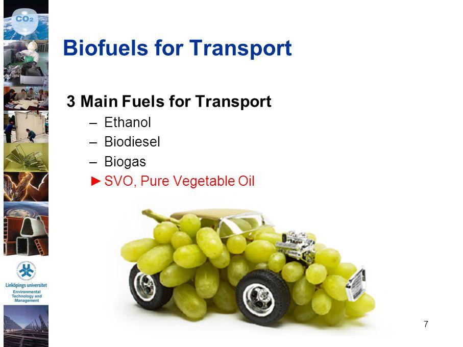 7 3 Main Fuels for Transport –Ethanol –Biodiesel –Biogas ►SVO, Pure Vegetable Oil Biofuels for Transport