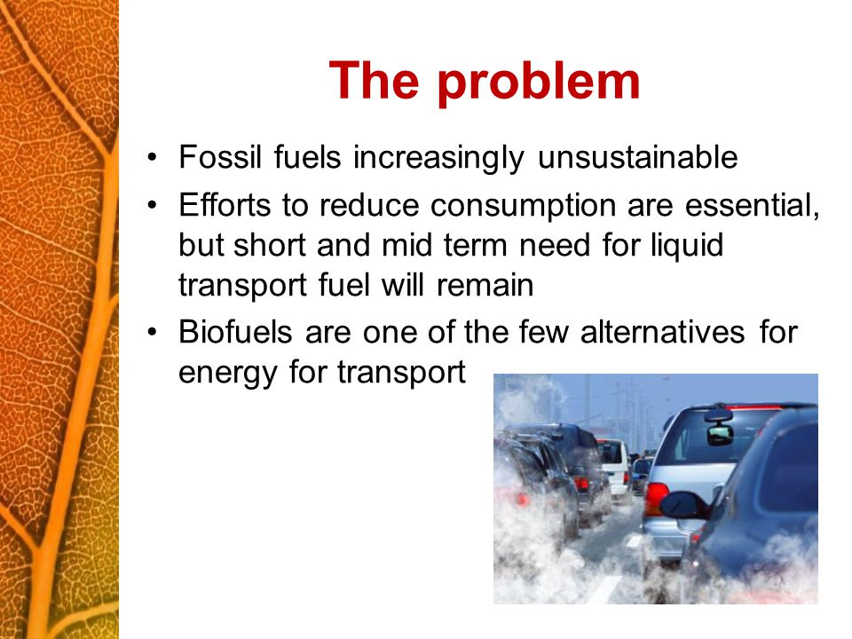 The problem Fossil fuels increasingly unsustainable Efforts to reduce consumption are essential, but short and mid term need for liquid transport fuel will remain Biofuels are one of the few alternatives for energy for transport