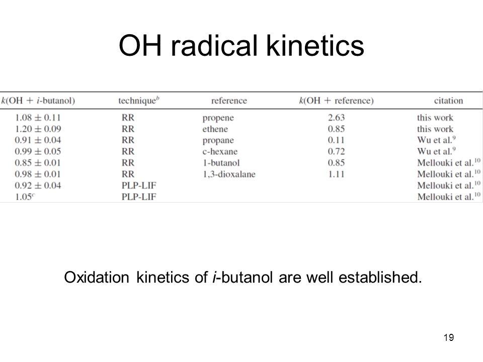 19 OH radical kinetics Oxidation kinetics of i-butanol are well established.