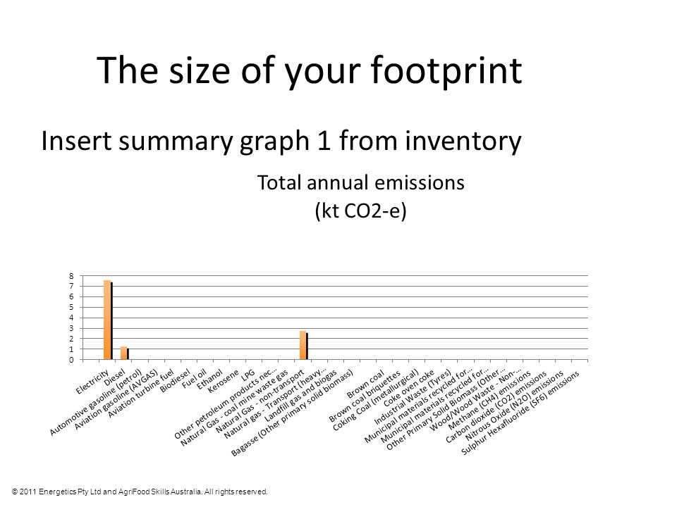 © 2011 Energetics Pty Ltd and AgriFood Skills Australia. All rights reserved. The size of your footprint Insert summary graph 1 from inventory