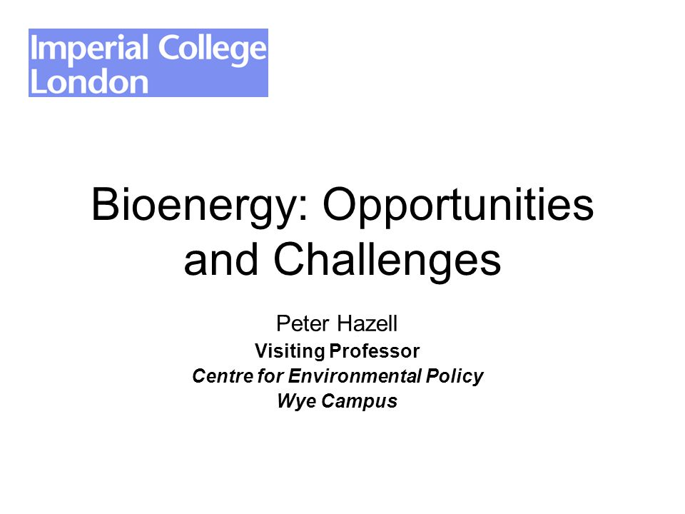 Peter Hazell Visiting Professor Centre for Environmental Policy Wye Campus Bioenergy: Opportunities and Challenges