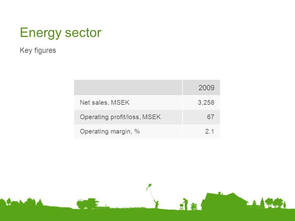 Energy sector Key figures 2009 Net sales, MSEK3,258 Operating profit/loss, MSEK67 Operating margin, %2.1