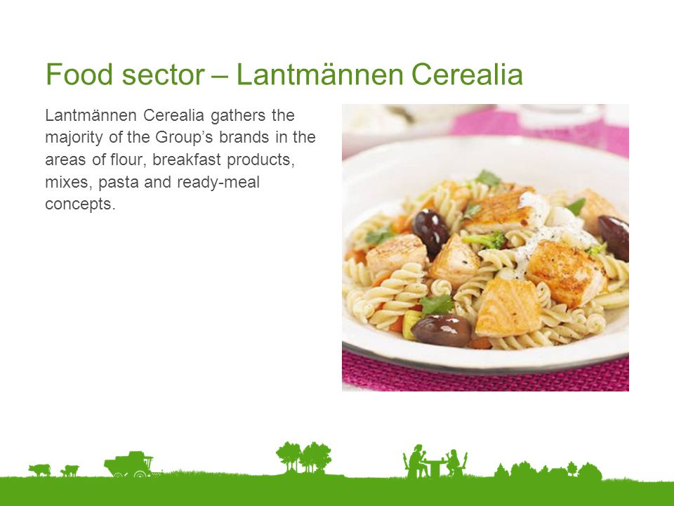 Food sector – Lantmännen Cerealia Lantmännen Cerealia gathers the majority of the Group's brands in the areas of flour, breakfast products, mixes, pas