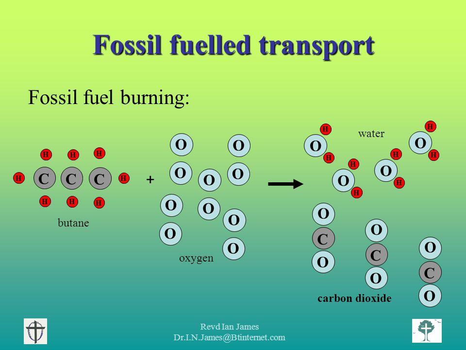 Revd Ian James Dr.I.N.James@Btinternet.com Fossil fuelled transport Fossil fuel burning: O O H H H H C C H H C H H O O O O O O O O + C O O H H O C O O C O O H H O H H O H H O butane oxygen water carbon dioxide