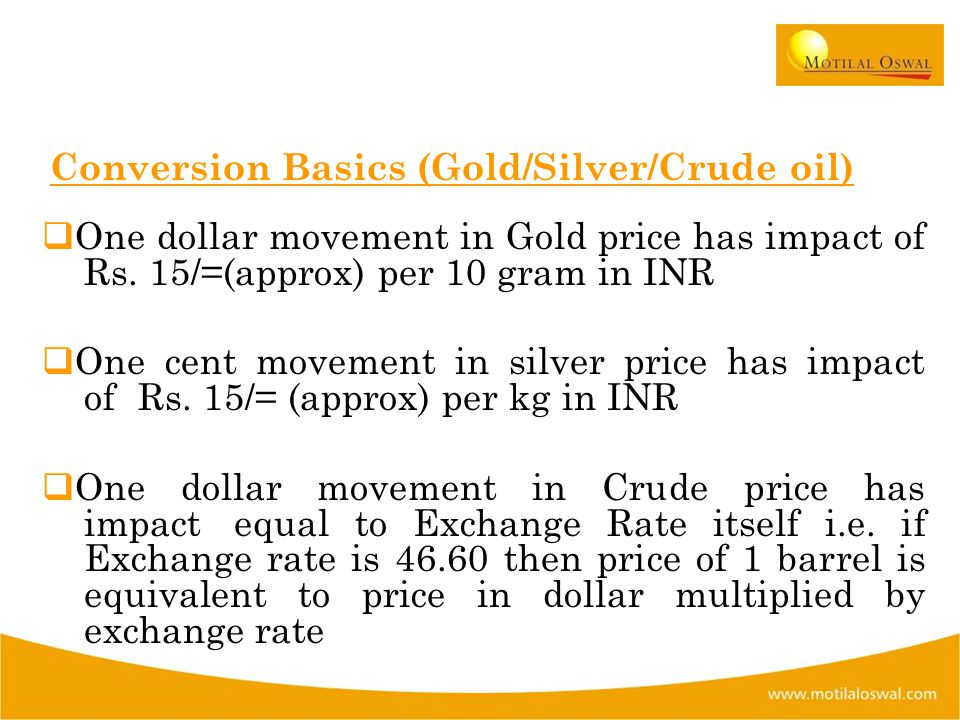 Conversion Basics (Gold/Silver/Crude oil)  One dollar movement in Gold price has impact of Rs.