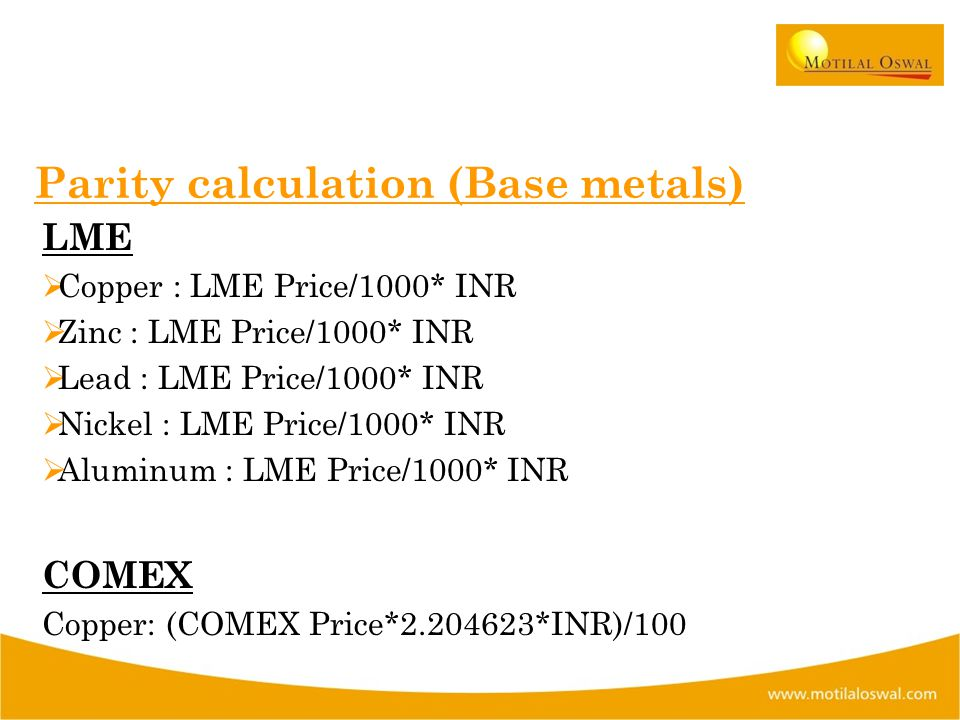 Parity calculation (Base metals) LME  Copper : LME Price/1000* INR  Zinc : LME Price/1000* INR  Lead : LME Price/1000* INR  Nickel : LME Price/1000* INR  Aluminum : LME Price/1000* INR COMEX Copper: (COMEX Price*2.204623*INR)/100