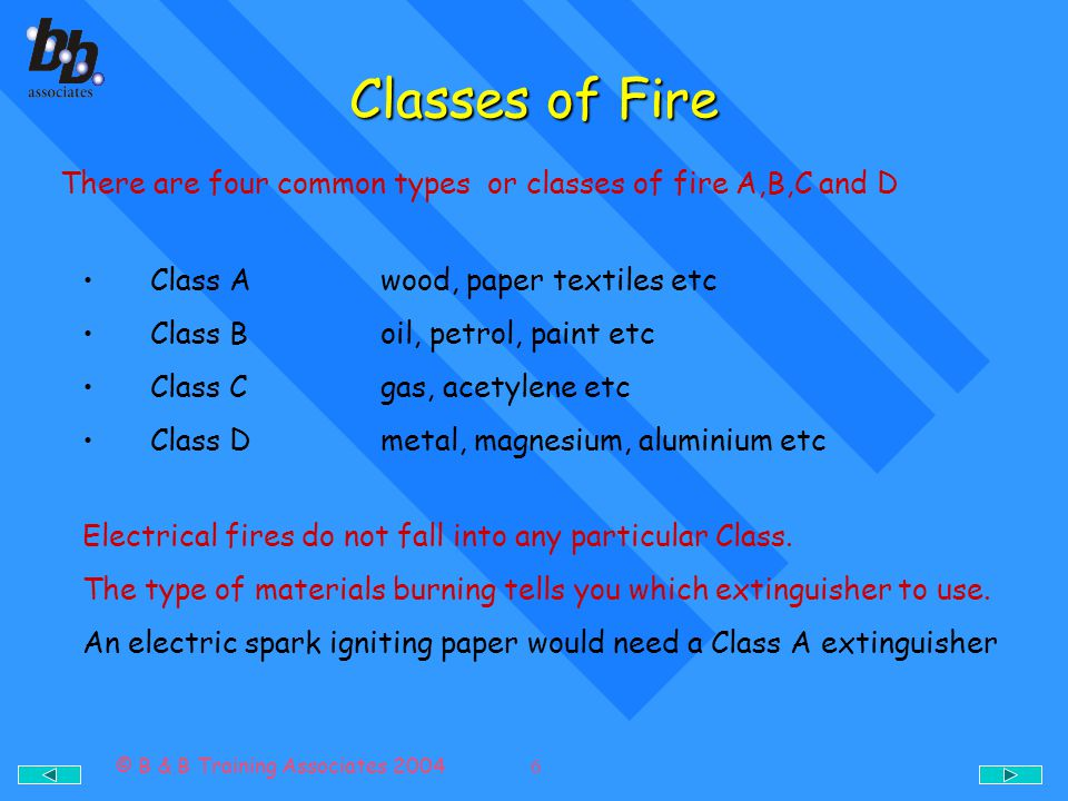 © B & B Training Associates 2004 7 Types of Fire Extinguishers Type Suited for ClassColour WaterWood, paper, textiles etc ASignal red Carbon dioxide(CO 2 )Petrol, paint, oil and electricalB,C,DSignal red Foam- CO 2 /WaterPetrol, paint, oil etcB,DSignal red PowderEverythingA,B,C,DSignal red Halogenated hydrocarbon (gas) Petrol, paint oil and electrical etcB,C,DSignal red All fire extinguishers are now red, each extinguisher should have its own label to identify what class of fire it is to be used on.