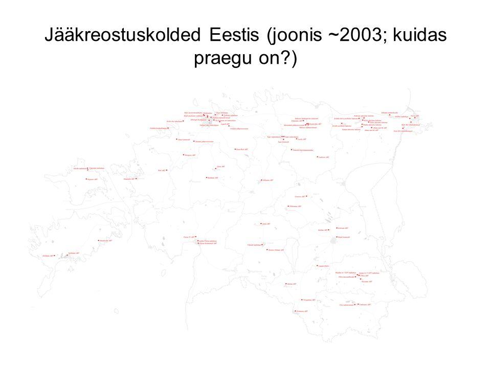 Jääkreostuskolded Eestis (joonis ~2003; kuidas praegu on )