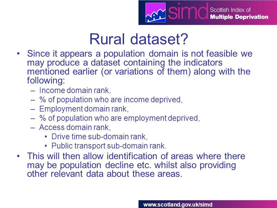 www.scotland.gov.uk/simd Rural dataset.