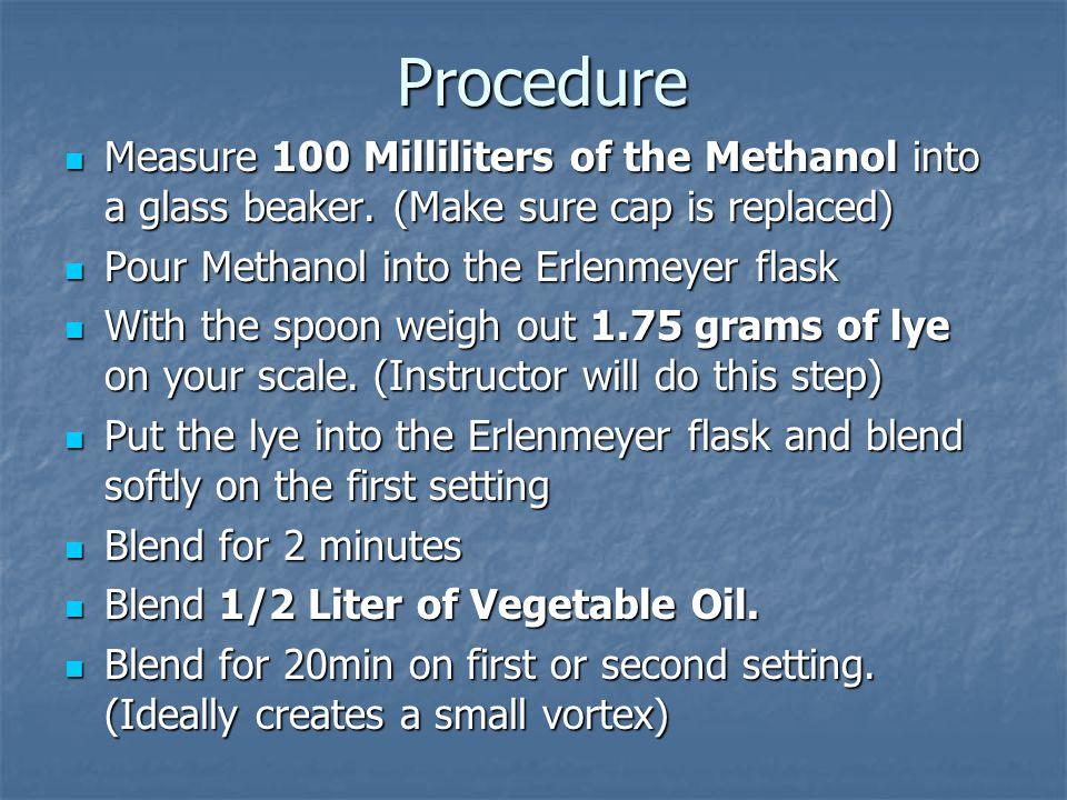 Procedure Measure 100 Milliliters of the Methanol into a glass beaker.