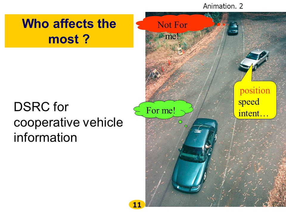 11 DSRC for cooperative vehicle information position speed intent… For me.