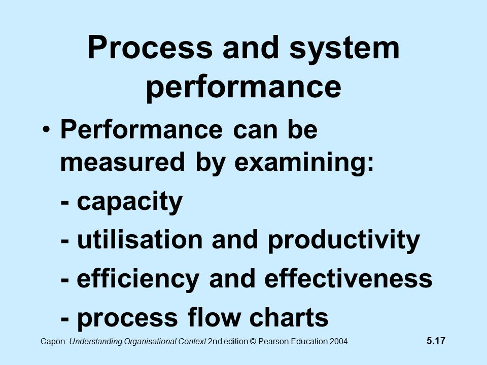 5.17 Capon: Understanding Organisational Context 2nd edition © Pearson Education 2004 Process and system performance Performance can be measured by examining: - capacity - utilisation and productivity - efficiency and effectiveness - process flow charts