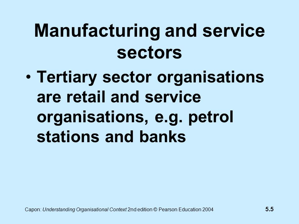 5.6 Capon: Understanding Organisational Context 2nd edition © Pearson Education 2004 Manufacturing and service sectors Not-for-profit organisations include charities and religious organisations, e.g Oxfam and Church of England Private sector organisations include companies selling goods & services, e.g.