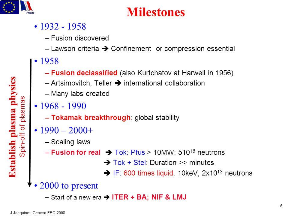 J Jacquinot, Geneva FEC 2008 5 5 3 ways for fusion gravitation : 1.3 10 8 m 3 10 16 s 10 9 atm Ion temperature : 100 million deg  thermal energy = 10 keV Sun magnetic : 10 m 400 s 2 atm inertial : 10 -2 m 10 -8 s 10 9 atm Tokamak JET / ITER Target compression To ignite : nT i  E ~ 10 21 m -3.keV.s ~ 1 bar.seconde  E = energy confinement time Confinement: Dimension: Duration: Pressure: