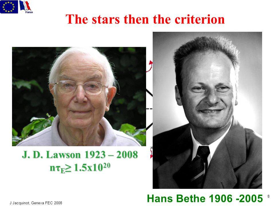J Jacquinot, Geneva FEC 2008 8 The stars then the criterion Hans Bethe 1906 -2005 J.