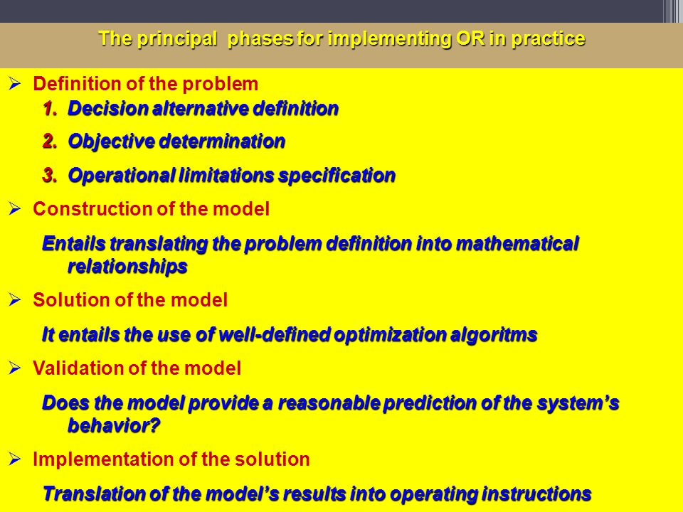 The principal phases for implementing OR in practice  Definition of the problem 1.Decision alternative definition 2.Objective determination 3.Operational limitations specification  Construction of the model Entails translating the problem definition into mathematical relationships  Solution of the model It entails the use of well-defined optimization algoritms  Validation of the model Does the model provide a reasonable prediction of the system's behavior.