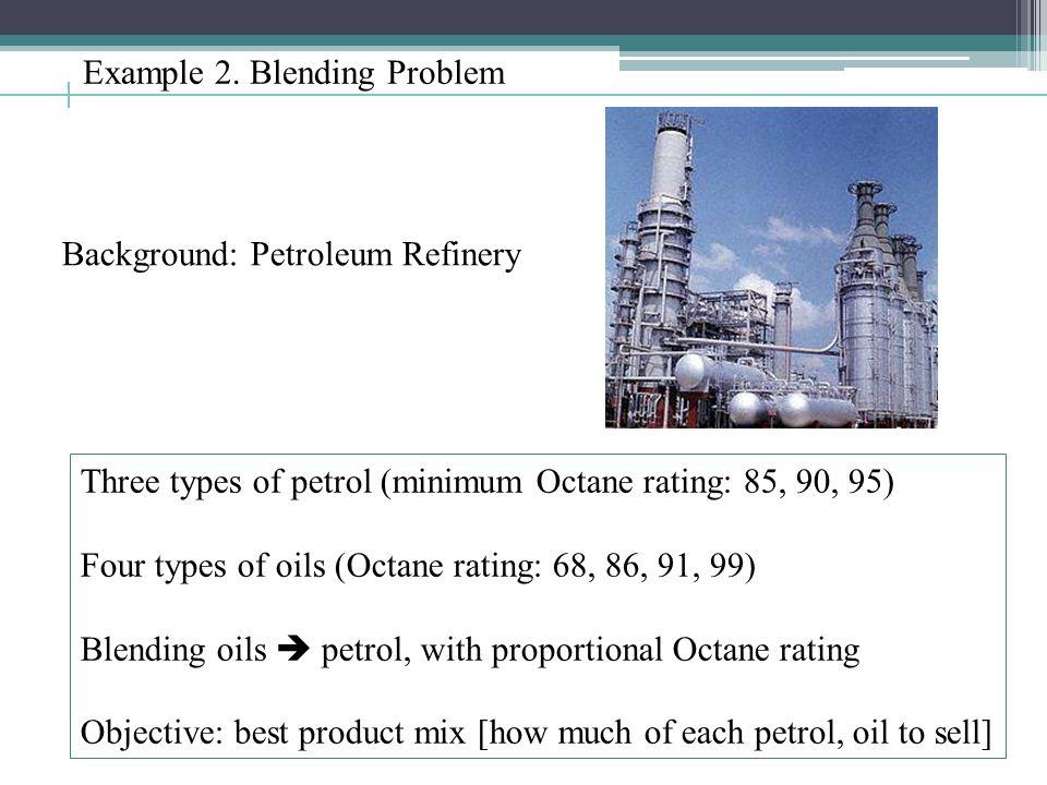 Example 2. Blending Problem Three types of petrol (minimum Octane rating: 85, 90, 95) Four types of oils (Octane rating: 68, 86, 91, 99) Blending oils