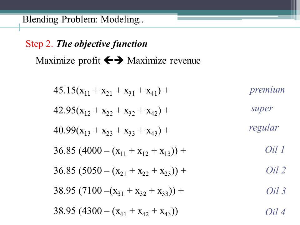 Blending Problem: Modeling.. Step 2. The objective function Maximize profit  Maximize revenue 45.15(x 11 + x 21 + x 31 + x 41 ) + 42.95(x 12 + x 22