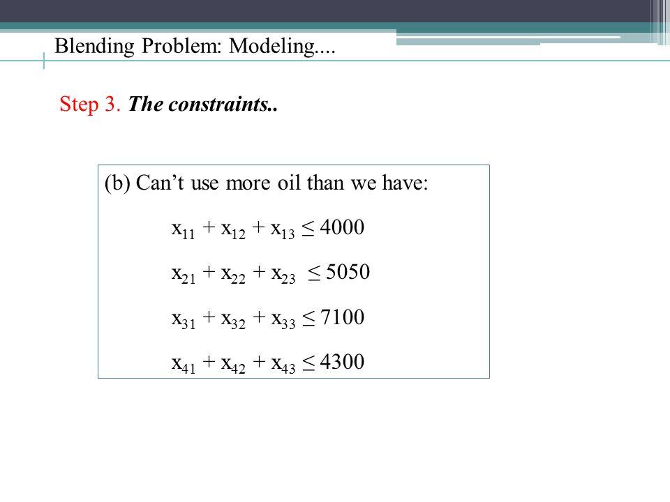 Blending Problem: Modeling.... Step 3. The constraints.. (b) Can't use more oil than we have: x 11 + x 12 + x 13 ≤ 4000 x 21 + x 22 + x 23 ≤ 5050 x 31