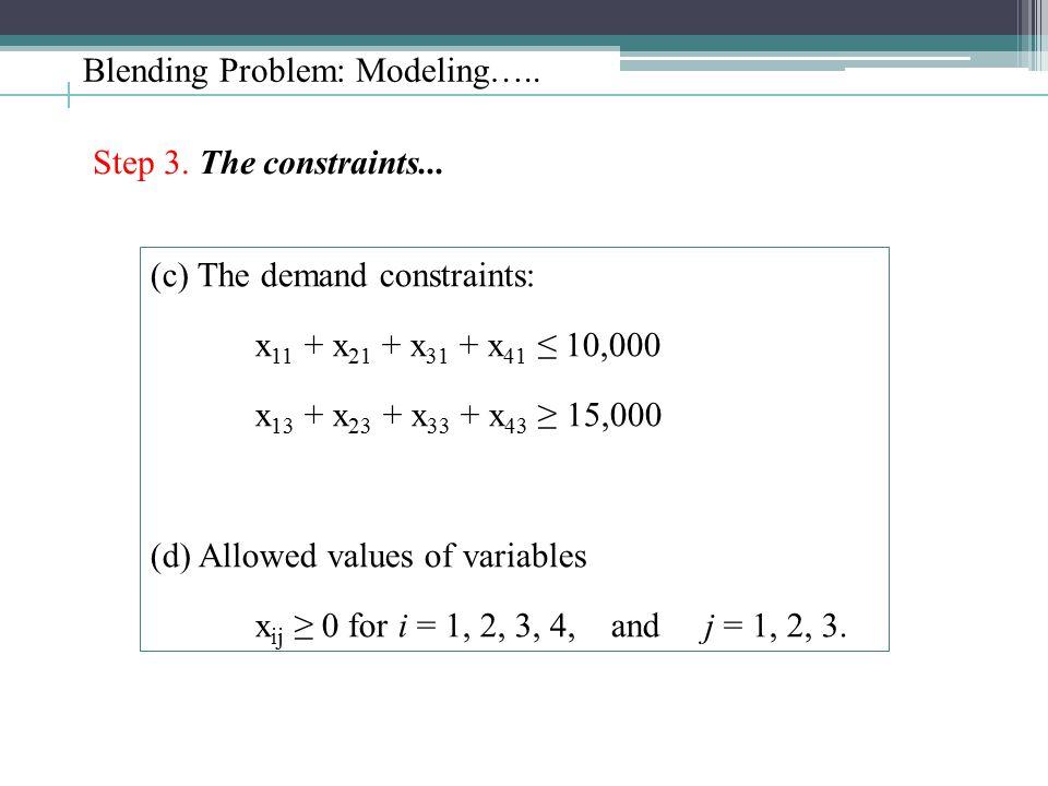 Blending Problem: Modeling….. Step 3. The constraints... (c) The demand constraints: x 11 + x 21 + x 31 + x 41 ≤ 10,000 x 13 + x 23 + x 33 + x 43 ≥ 15