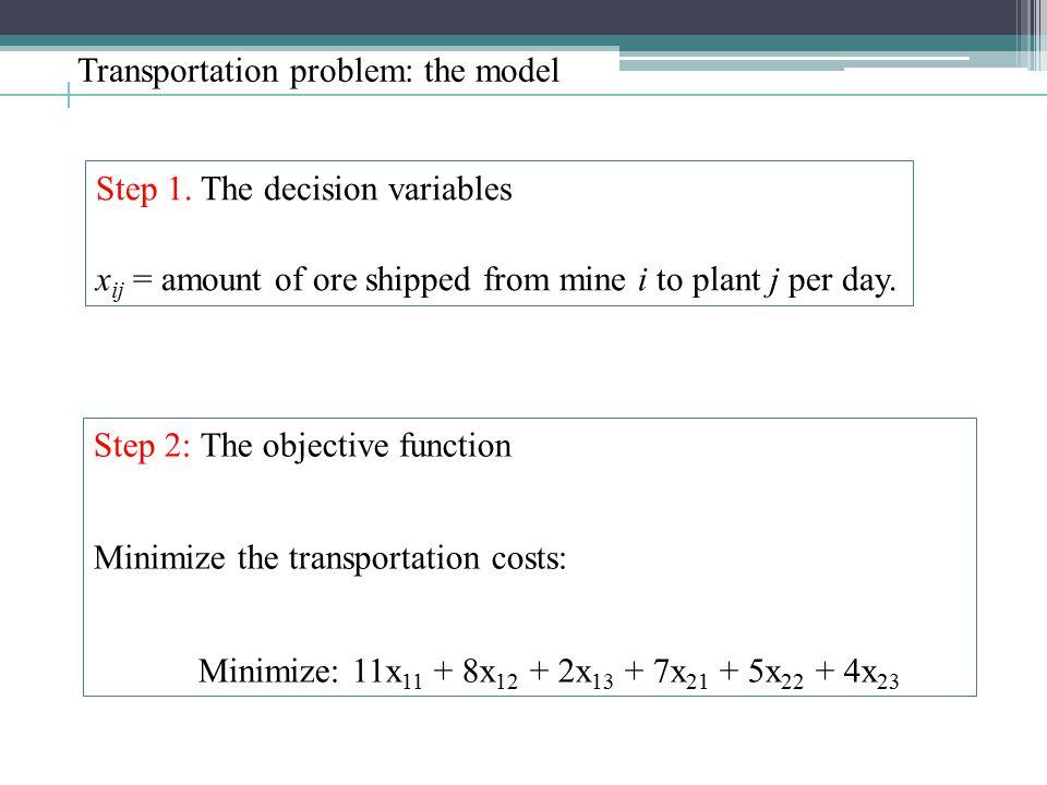 Transportation problem: the model Step 1.