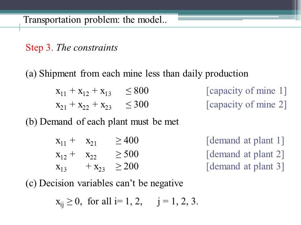Transportation problem: the model.. Step 3.