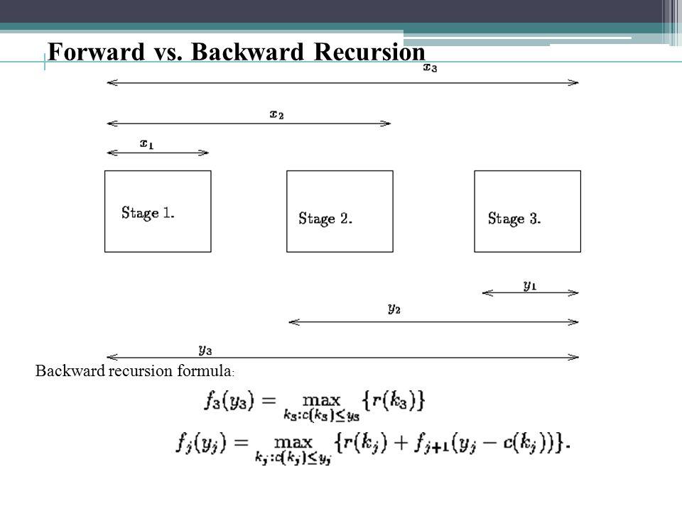 Forward vs. Backward Recursion Backward recursion formula :