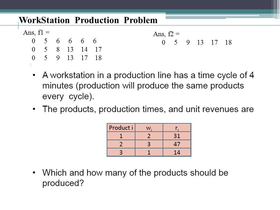 Ans, f1 = 0 5 6 6 6 6 0 5 8 13 14 17 0 5 9 13 17 18 Ans, f2 = 0 5 9 13 17 18 WorkStation Production Problem