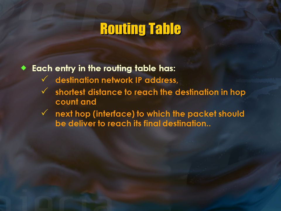 Routing Table  Each entry in the routing table has:  destination network IP address,  shortest distance to reach the destination in hop count and 