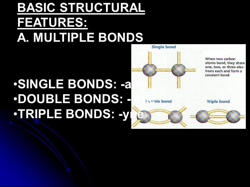 BASIC STRUCTURAL FEATURES: A. MULTIPLE BONDS SINGLE BONDS: -ane DOUBLE BONDS: - ene TRIPLE BONDS: -yne