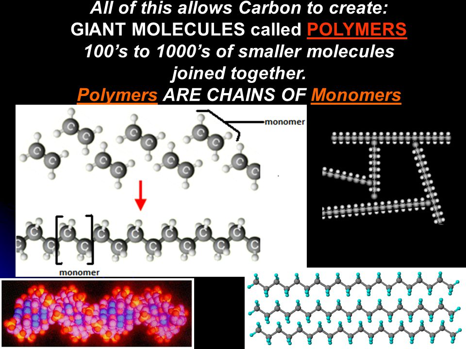 All of this allows Carbon to create: GIANT MOLECULES called POLYMERS 100's to 1000's of smaller molecules joined together. Polymers ARE CHAINS OF Mono