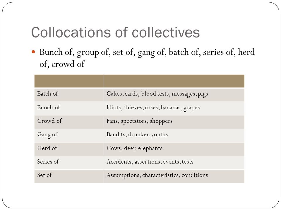 Collocations of collectives Bunch of, group of, set of, gang of, batch of, series of, herd of, crowd of Batch ofCakes, cards, blood tests, messages, p