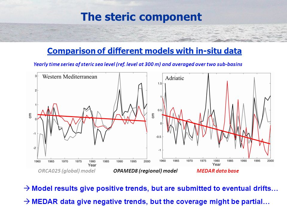 The steric component Yearly time series of steric sea level (ref.