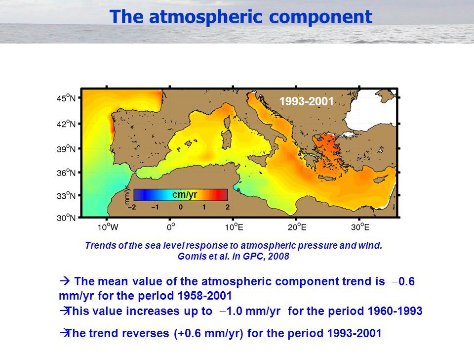  The mean value of the atmospheric component trend is  0.6 mm/yr for the period 1958-2001  This value increases up to  1.0 mm/yr for the period 1960-1993  The trend reverses (+0.6 mm/yr) for the period 1993-2001 1958-2001 1993-2001 cm/yr Trends of the sea level response to atmospheric pressure and wind.