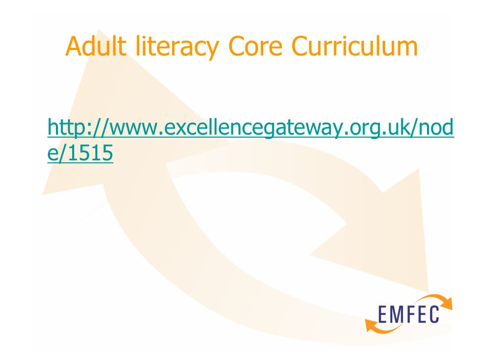 Adult literacy Core Curriculum http://www.excellencegateway.org.uk/nod e/1515