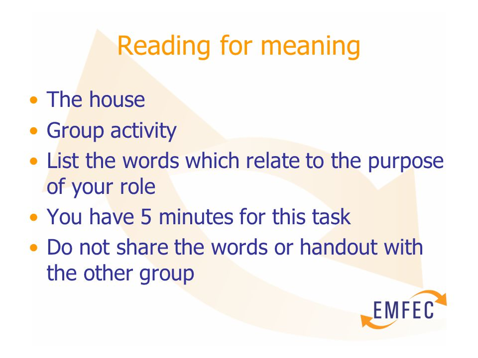 Reading for meaning The house Group activity List the words which relate to the purpose of your role You have 5 minutes for this task Do not share the