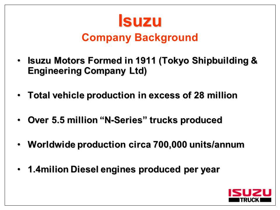 Isuzu Isuzu Company Background Isuzu Motors Formed in 1911 (Tokyo Shipbuilding & Engineering Company Ltd)Isuzu Motors Formed in 1911 (Tokyo Shipbuildi
