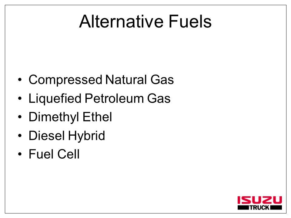 Alternative Fuels Compressed Natural Gas Liquefied Petroleum Gas Dimethyl Ethel Diesel Hybrid Fuel Cell