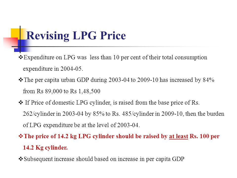  Expenditure on LPG was less than 10 per cent of their total consumption expenditure in 2004-05.  The per capita urban GDP during 2003-04 to 2009-10