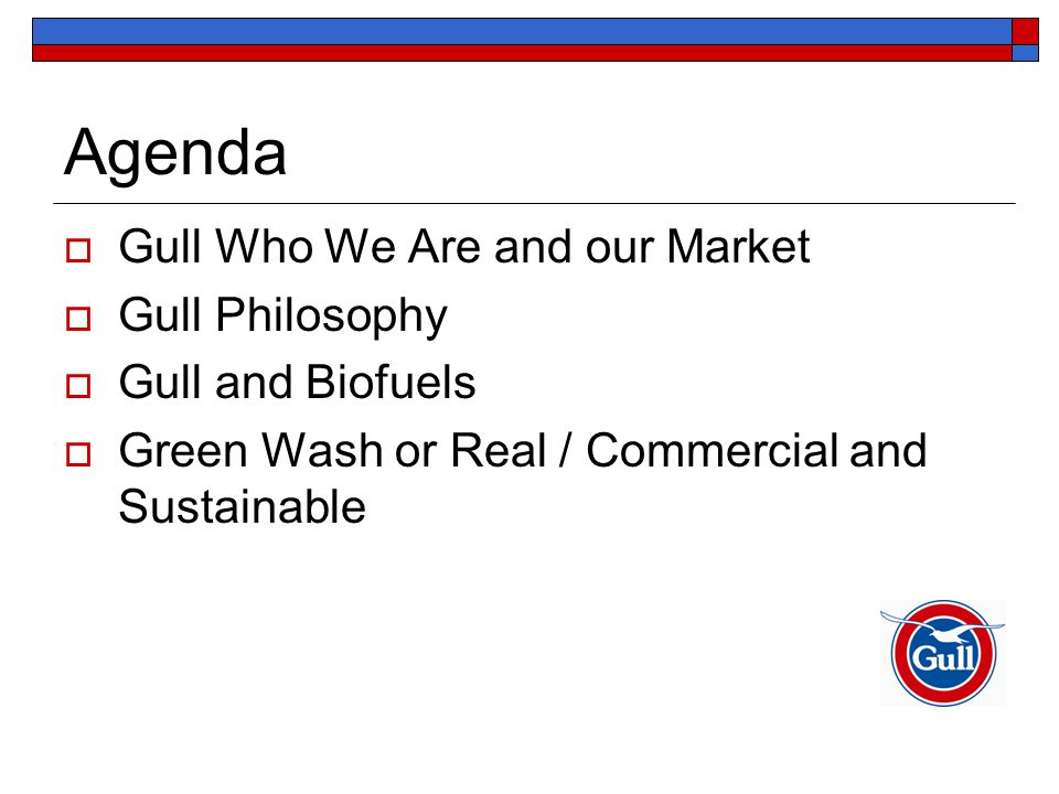 Agenda  Gull Who We Are and our Market  Gull Philosophy  Gull and Biofuels  Green Wash or Real / Commercial and Sustainable