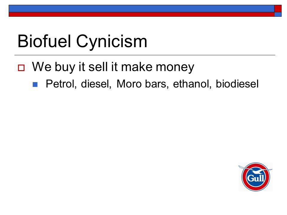 Biofuel Cynicism  We buy it sell it make money Petrol, diesel, Moro bars, ethanol, biodiesel