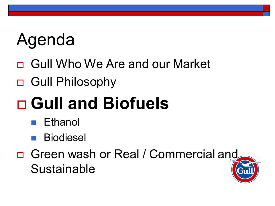Agenda  Gull Who We Are and our Market  Gull Philosophy  Gull and Biofuels Ethanol Biodiesel  Green wash or Real / Commercial and Sustainable