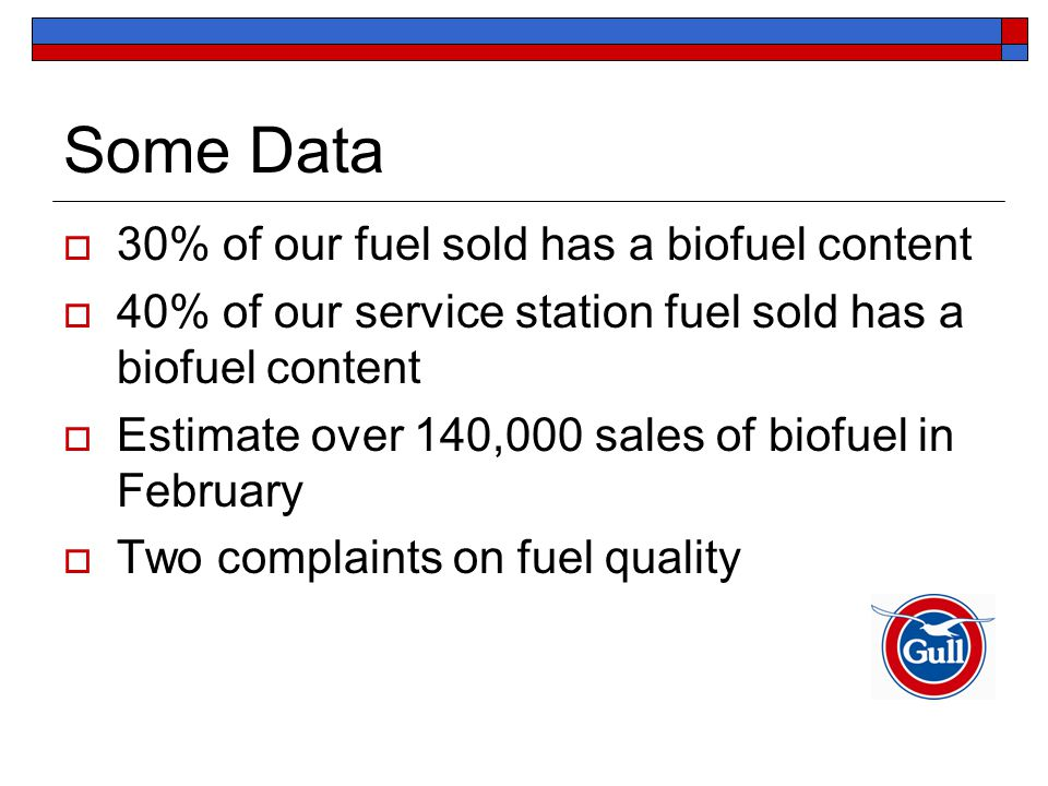 Some Data  30% of our fuel sold has a biofuel content  40% of our service station fuel sold has a biofuel content  Estimate over 140,000 sales of biofuel in February  Two complaints on fuel quality