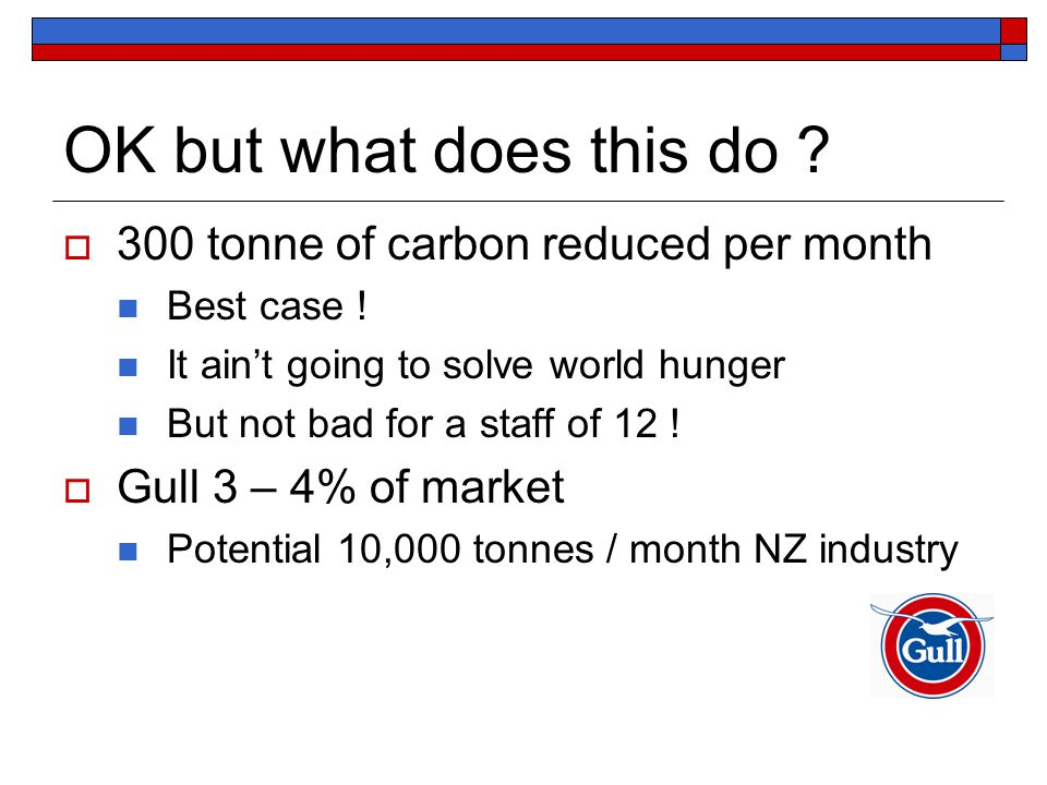 OK but what does this do .  300 tonne of carbon reduced per month Best case .