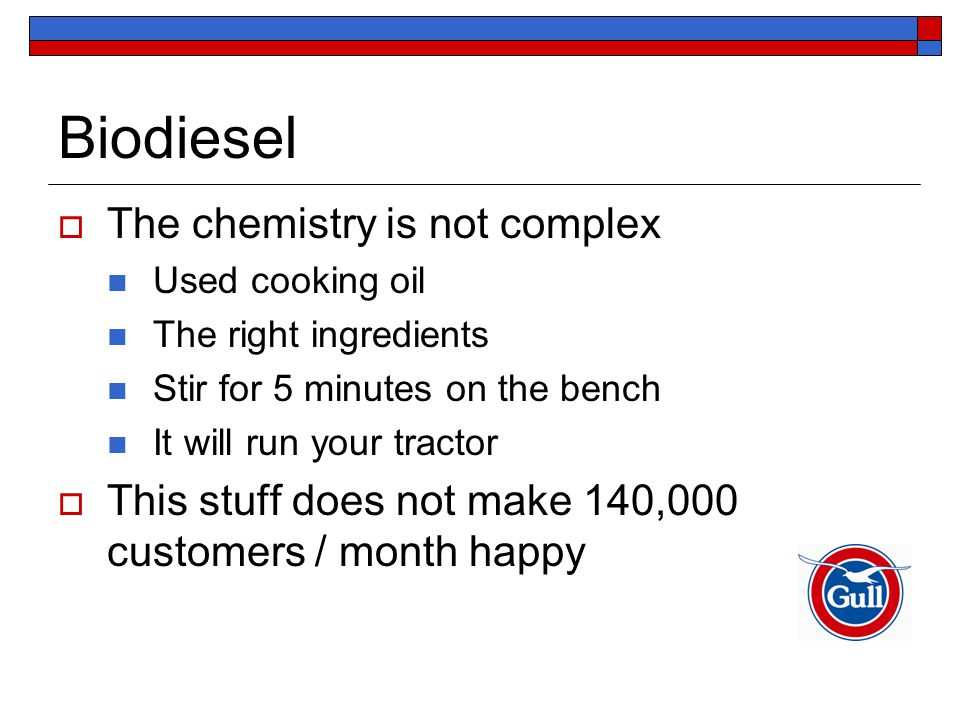 Biodiesel  The chemistry is not complex Used cooking oil The right ingredients Stir for 5 minutes on the bench It will run your tractor  This stuff does not make 140,000 customers / month happy
