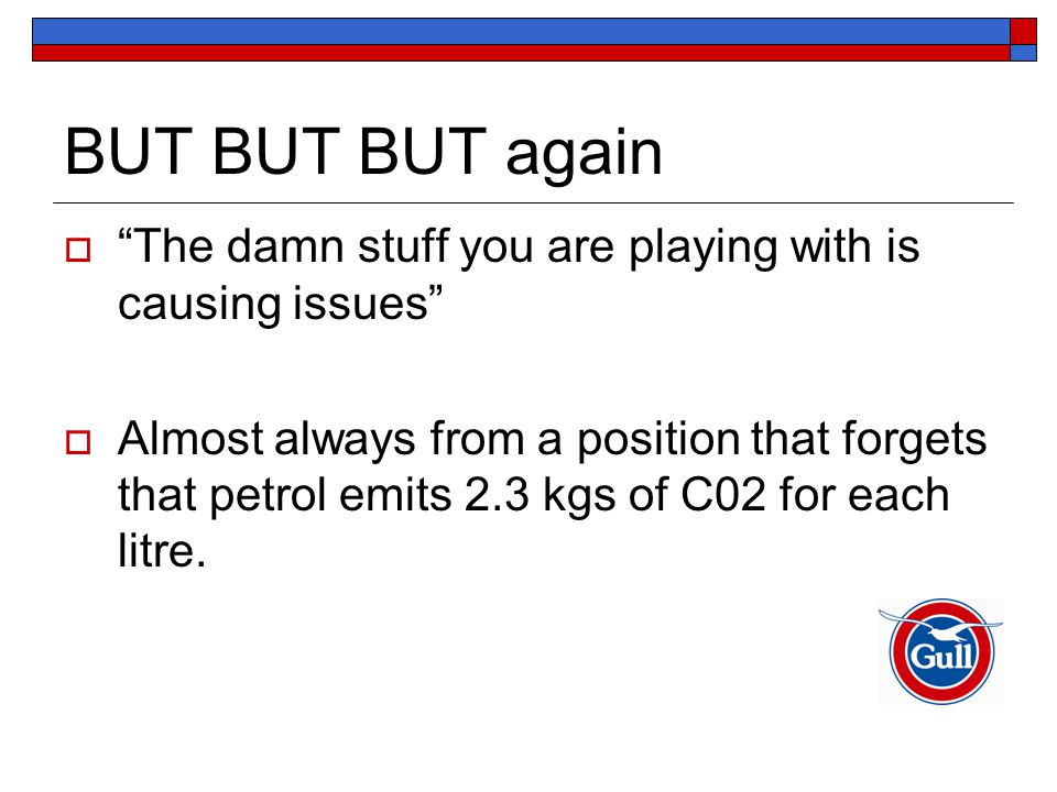 BUT BUT BUT again  The damn stuff you are playing with is causing issues  Almost always from a position that forgets that petrol emits 2.3 kgs of C02 for each litre.