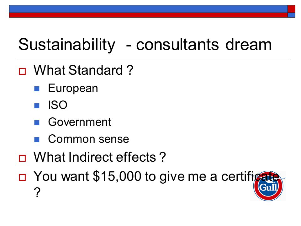 Sustainability - consultants dream  What Standard .
