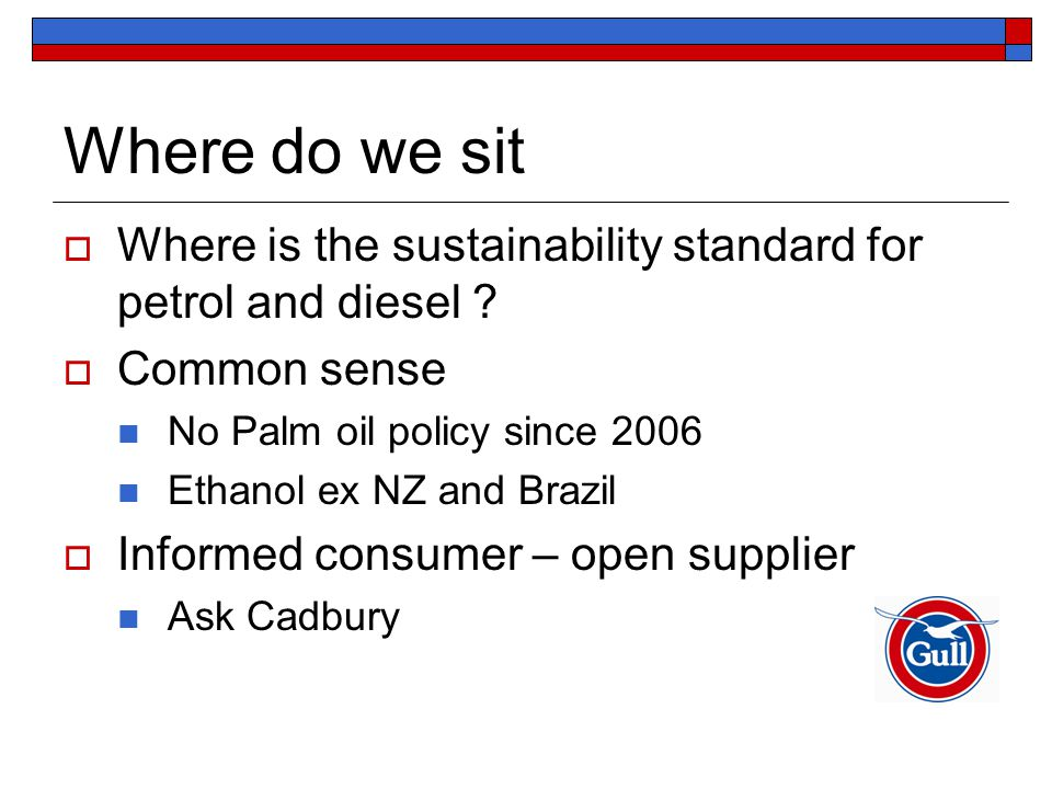 Where do we sit  Where is the sustainability standard for petrol and diesel ?  Common sense No Palm oil policy since 2006 Ethanol ex NZ and Brazil 
