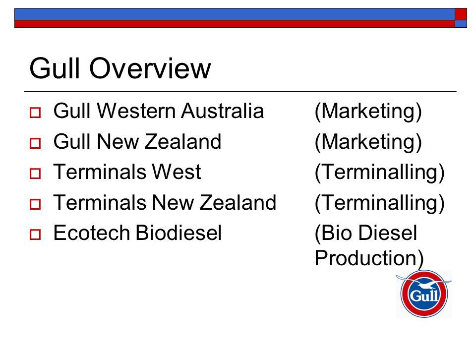 Gull Overview  Gull Western Australia (Marketing)  Gull New Zealand (Marketing)  Terminals West (Terminalling)  Terminals New Zealand(Terminalling)  Ecotech Biodiesel (Bio Diesel Production)